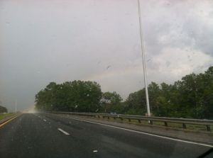rainbow through storm