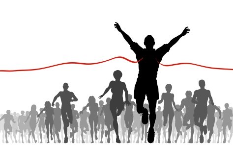 Editable vector illustration of a man winning a race